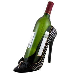 Sleek and Shiny Wine Bottle Holder Heel Black