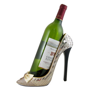 Sleek and Shiny Wine Bottle Holder Heel Ivory