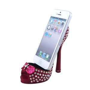 Sparkling Crystals Bow Cell Phone Shoe Holder Fuchsia