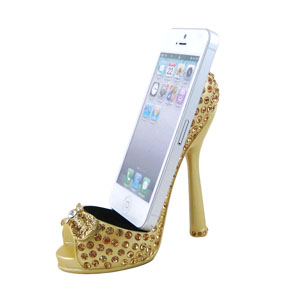 Sparkling Crystals Bow Cell Phone Shoe Holder Gold