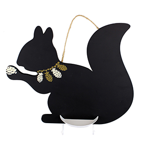 Squirrel Chalkboard with Key Hooks and Chalk Holder