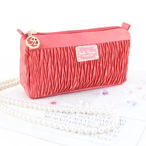 Vintage Allure Compact Cosmetic Bag Coral