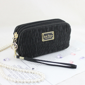 Vintage Allure Cosmetic Bag with Wristlet Black