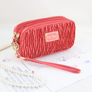 Vintage Allure Cosmetic Bag with Wristlet Coral