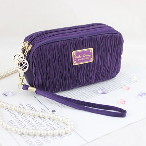 Vintage Allure Cosmetic Bag with Wristlet Purple