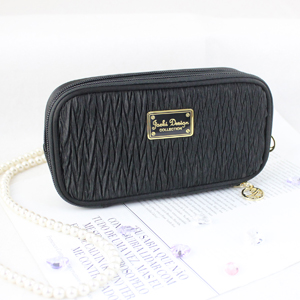 Vintage Allure Duo Zipper Cosmetic Bag Black