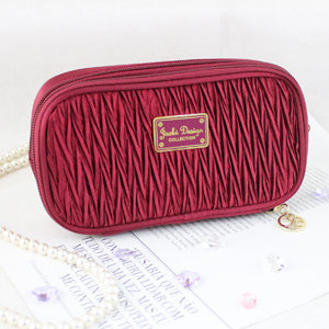 Vintage Allure Duo Zipper Cosmetic Bag Burgundy