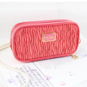 Vintage Allure Duo Zipper Cosmetic Bag Coral