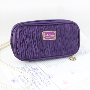 Vintage Allure Duo Zipper Cosmetic Bag Purple