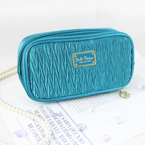 Vintage Allure Duo Zipper Cosmetic Bag Turquoise