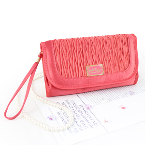 Vintage Allure Foldover Hanging Cosmetic Bag Coral
