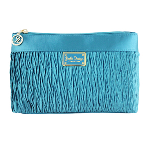 Vintage Allure Pleated Flat Cosmetic Bag Turquoise