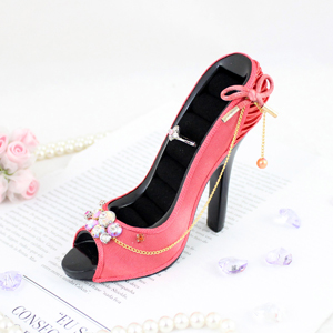 Vintage Crystals Peep Toe Shoe Ring Holder Coral