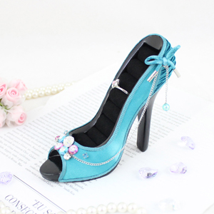 Vintage Crystals Peep Toe Shoe Ring Holder Turquoise