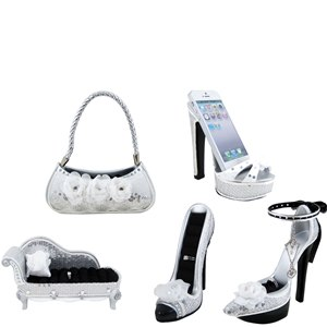 White Rose Shoe Couch Purse Ring Holders Cell Phone Holder, Set of 5