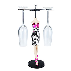 Zebra Cocktail Dress Wine Bottle Holder Fuchsia
