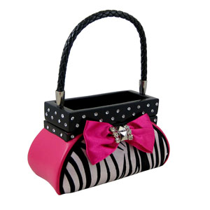 Zebra Jewelry Box Handbag Fuchsia