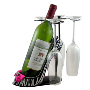 Zebra Wine Bottle Glasses Holder Heel Fuchsia