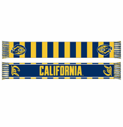 California Golden Bears Cursive Logo Striped Second Scarf - Navy/Gold
