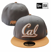 <b><i>All Sales Final</i></b> - California Golden Bears New Era 59FIFTY&reg Cursive Logo & Walking Bear Flat Brim Fitted Hat - Grey/Gold