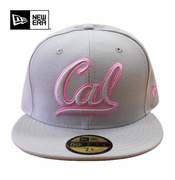 <b><i>All Sales Final</i></b> - California Golden Bears New Era 59FIFTY&reg Pink Cursive Logo Fitted Cap - Grey