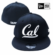 California Golden Bears New Era 59FIFTY&reg White Outline Cursive Logo Flat Brim Fitted Hat - Navy/White