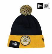 California Golden Bears New Era Cuffed Retro Circle Knit Hat with Pom - Navy/Gold