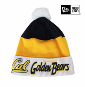 California Golden Bears New Era Cuffed Scripter Knit Hat with Pom - White/Gold/Navy