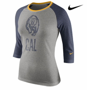 California Golden Bears Nike Women's 3/4 Raglan Top - Grey/Navy