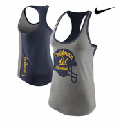 <b><i>All Sales Final</i></b> - California Golden Bears Nike Women's Tri-blend Football Helmet Tank Top - Grey