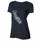 California Golden Bears Ouray Women's State V-Neck Tee - Navy