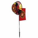US Marine Corps Dual Spinner Wheels with Garden Flag