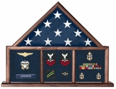 Walnut Flag Memorial Case - Three Bay