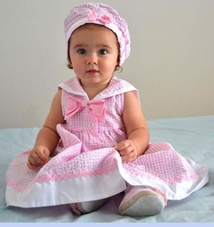 NEW Goodlad Pink Checked Sailor Dress with Matching Beret and Diaper Cover (SS1216)