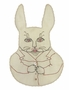 Heirloom 1930s Unused Antique White Bib with Bunny Embroidery