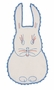"<img src=""http://site.grammies-attic.com/images/blue-sold-1.gif""> Heirloom 1930s White Bib with Red and Blue Bunny Embroidery"
