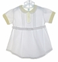 "<img src=""http://site.grammies-attic.com/images/blue-sold-1.gif""> Heirloom 1930s White Romper with Yellow Embroidered Collar and Cuffs"