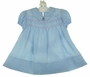 Heirloom 1940s Polly Flinders Blue Smocked Dress with Embroidered Pink Hearts