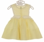 Heirloom 1950s Feltman Brothers Yellow Dotted Swiss Pinafore Dress with Fagoting and Lace Trim