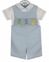 NEW Anavini Blue Checked Smocked Shortall Set with Pastel Bunnies