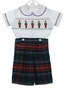 NEW Anavini Blue Plaid Cotton Flannel Button on Shorts Set with Nutcracker Embroidered Smocked Shirt