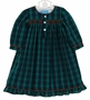 NEW Anavini Green Plaid Smocked Gown