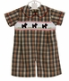 NEW Anavini Cotton Khaki Plaid Smocked Romper with Embroidered Scottie Dogs