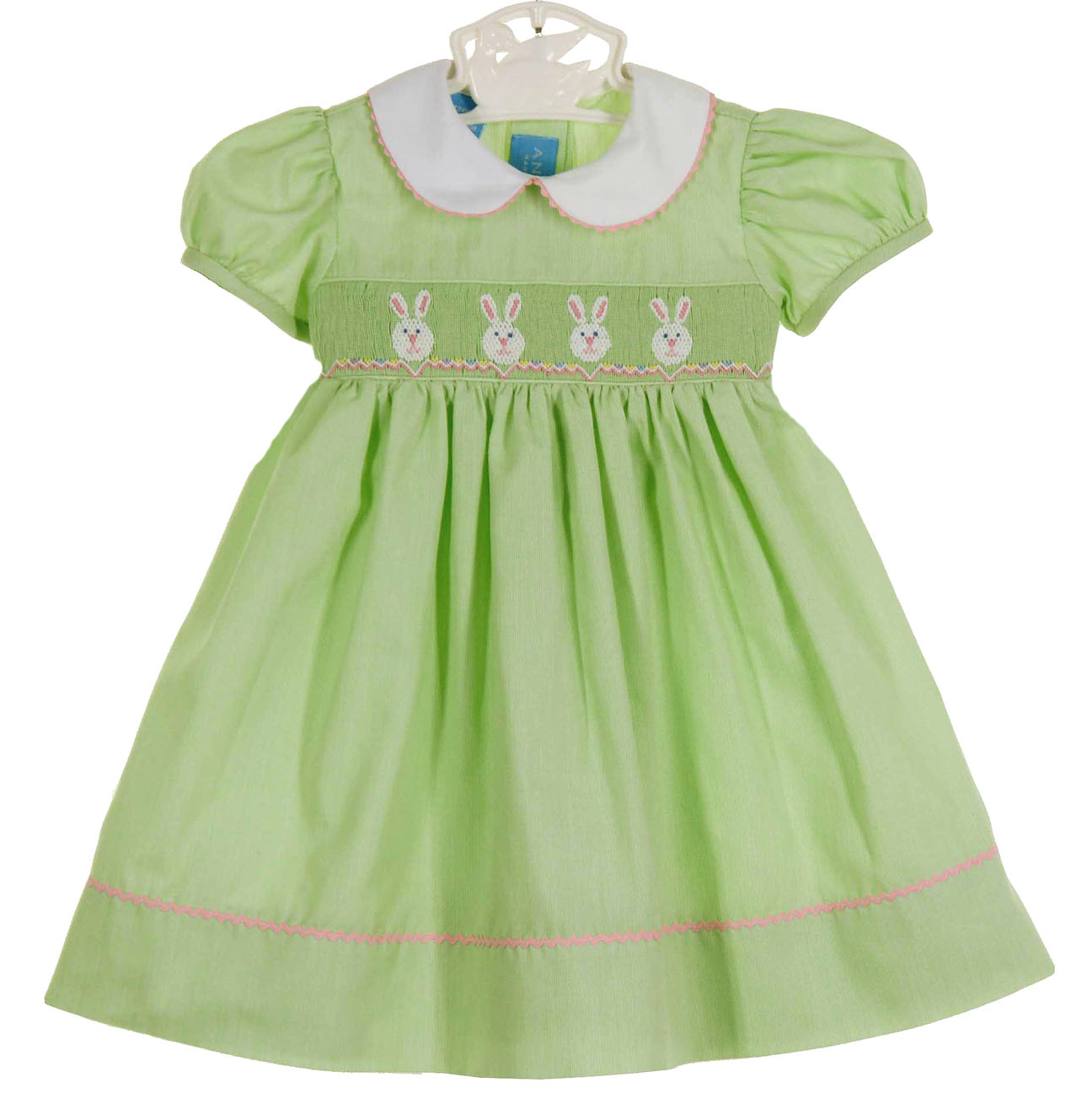 Anavini lime green smocked dress with embroidered bunnies lime