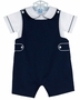 NEW Anavini Navy Cotton Pique Shortall Set with Matching Shirt