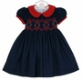 NEW Anavini Navy Smocked Twill Dress with Red Collar