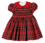 NEW Anavini Red Plaid Cotton Smocked Dress with Red Collar