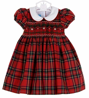 Anavini red plaid smocked dress with white collar - Plaid bebe petit pan ...