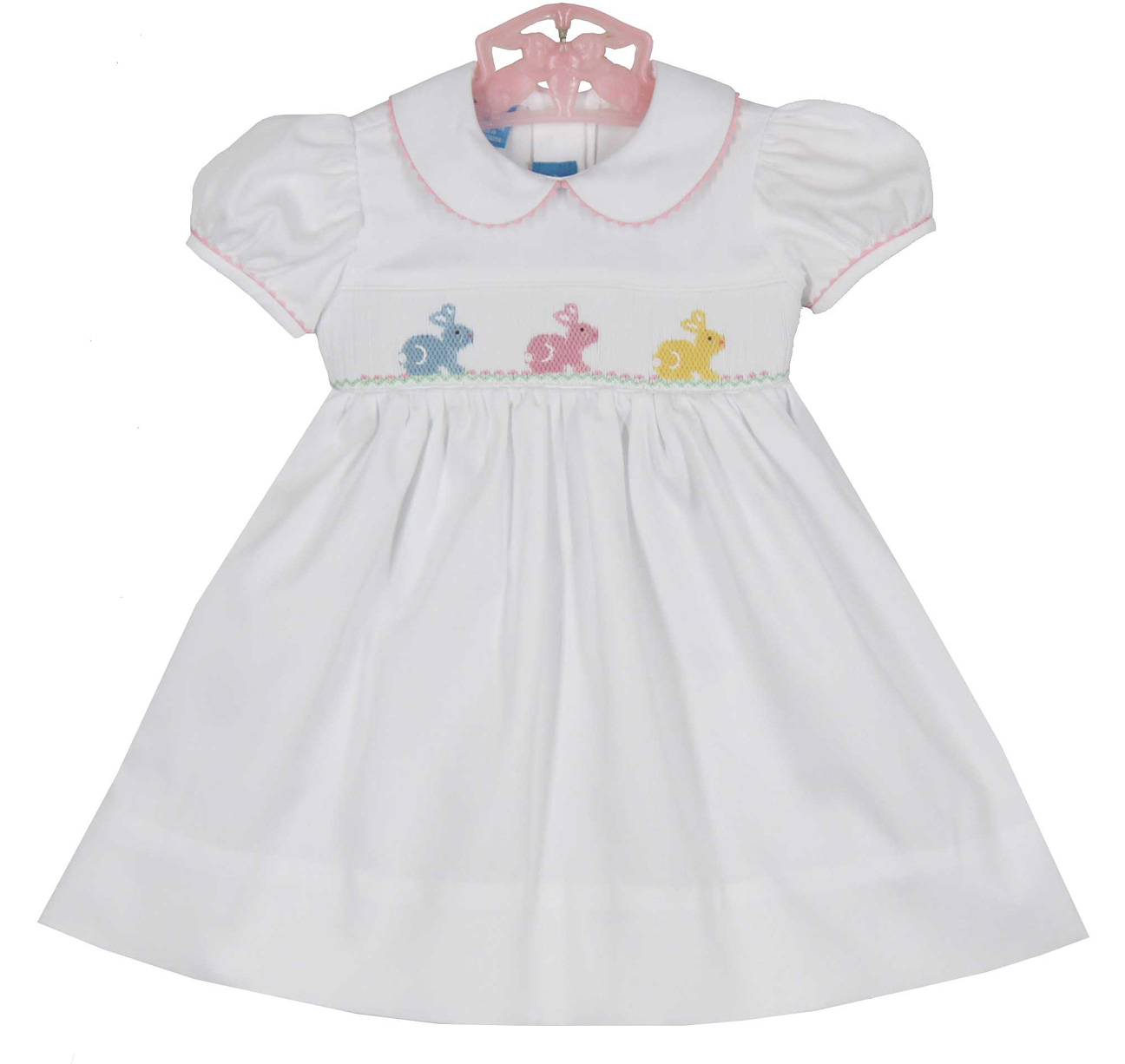 Anavini white cotton smocked dress with embroidered ...