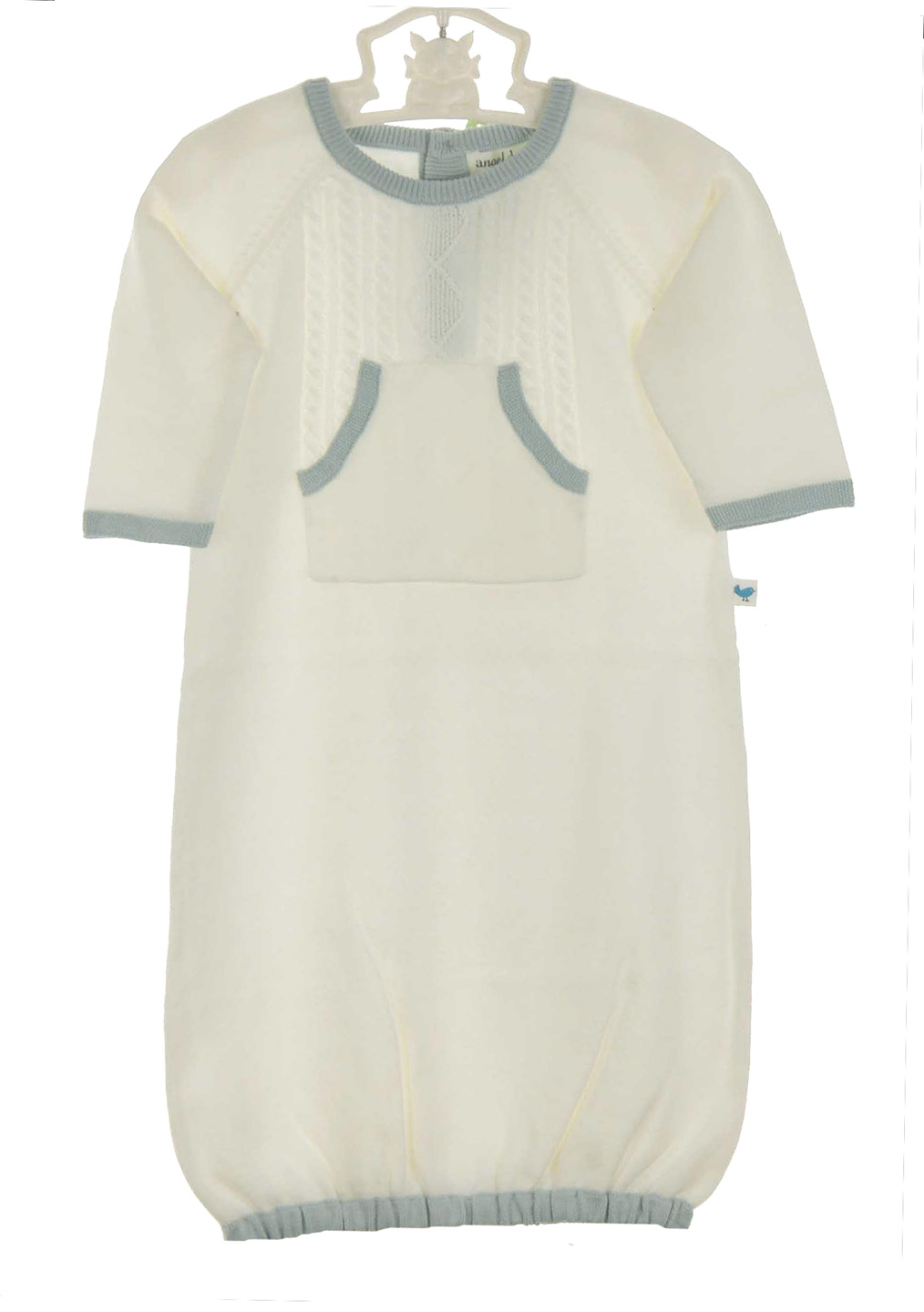 Angel Dear Ivory Soft Cotton Cable Knit Gown With Blue